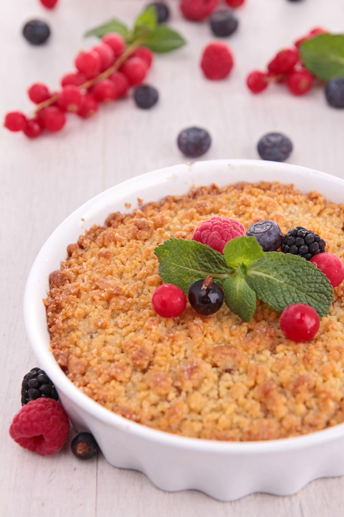 Crumble de fruits rouge, sans gluten ni lactose